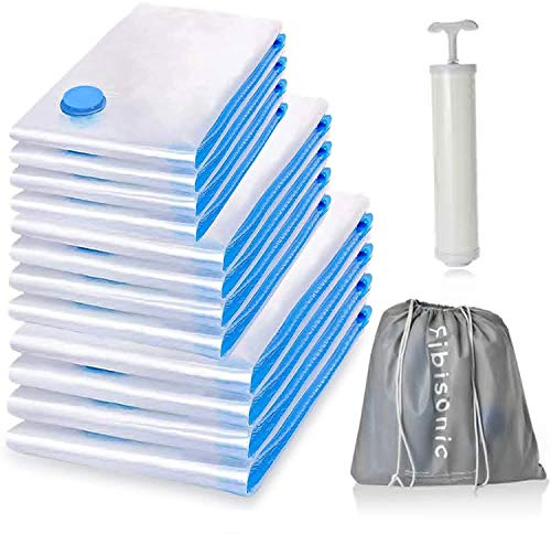 FiBiSonic 12 PCS bolsas de vacío para ropa, viajes, edredones, 4L 100 x80cm + 4M 60x80cm + 4S 60x40cm bolsas de almacenamiento al vacío, bolsas de compresión, bolsas de ropa para almohadas de cama