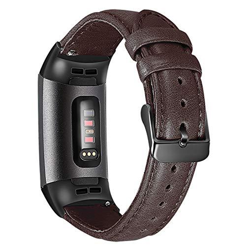 XIALEY Correa De Muñeca Compatible con Fitbit Charge 3/ Fitbit Charge 4, Pulseras De Cuero Banda De Reloj De Repuesto Color Conectores Metálicos Strap para Mujeres Band para Charge 3 / Charge 4,B
