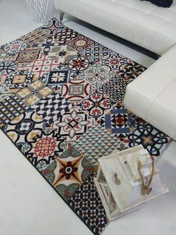 Stock ALFOMBRAS. Alfombra Baldosa Hidráulica Multicolor . Moderna y Elegante 120X170 Ideal para salón y Dormitorio.