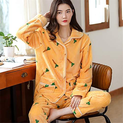 Weiche Damen Pyjamas, Dicke Bademäntel aus Korallenvlies, warme Hauskleidung für Herbst und Winter Größen A23 M