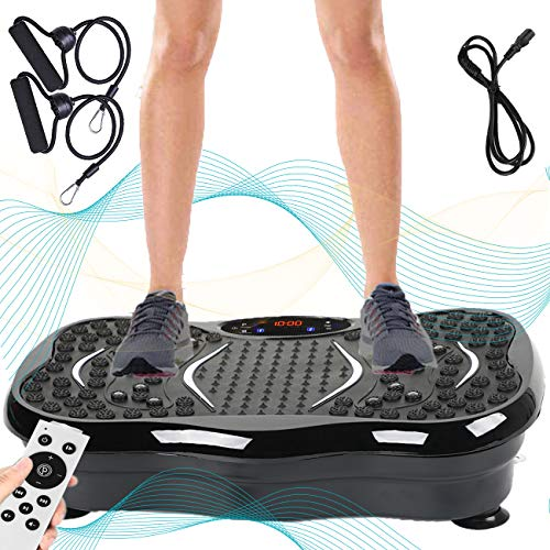 Triclicks Vibration Exercise Machine,Ultra Slim Vibration Plate Power Trainer,Motor Vibration Plate | 180 Levels | Bluetooth Speaker | Remote Control | 2 Loop Bands | USB Music Player