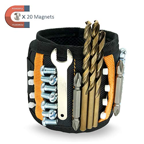 Magnetic Wristband with Strong Magnets for Holding Tools Screws Nails Drill Bits,Wrist Tool Holder with Pockets for DIY Man Handyman,Tools Gift for Men Him Husband Dad on Christmas Father's Day-Danchi