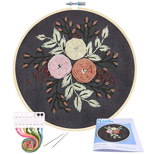Full Range of Embroidery Starter Kit with Pattern, Kissbuty Cross Stitch Kit Including Stamped Embroidery Cloth with Floral Pattern, Bamboo Embroidery Hoop, Color Threads and Tools Kit (Pretty Roses)