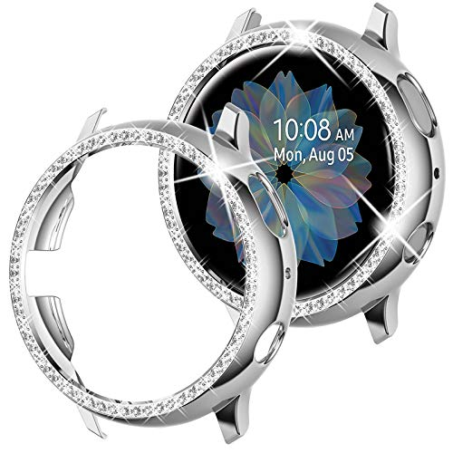 Goton Compatible Samsung Galaxy Watch Active 2 Case Bling 40mm , Women Girl Crystal Diamond Watch Bezel Bumper Protector Shiny Watch Face Case Cover for Samsung Active2 40mm (Silver, 40mm)
