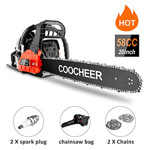 COOCHEER 58CC Gas Chainsaws, 3.5HP Guide Board Chainsaw Gasoline Powered Handheld Cordless Petrol Gasoline Chain Saw, 20_Inch Chainsaw for Farm, Garden and Ranch (Red Black)