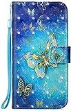 Hpory Cover Samsung Galaxy Note 10 Flip Custodia in PU Pelle Protettiva Portafoglio Caso [Carta Slot] [Funzione Supporto] [Chiusura Magnetica] Custodia per Samsung Note 10, Blu Farfalle Oro