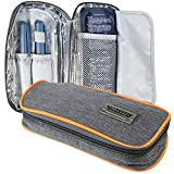 CoreLife Insulin Cooler Travel Case, Diabetic Medication Holder Bag and Organizer Kit with 2 Non-Sweat Ice Packs and Insulated Liner (Gray - Orange Trim)