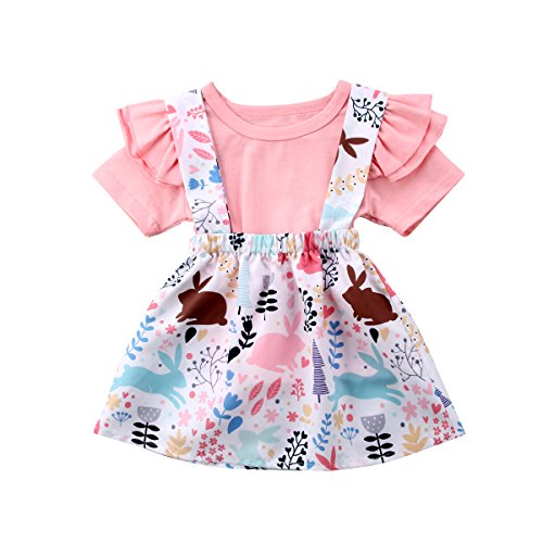 Easter Day-Toddler Baby Girls Clothes Set Ruffle Short Sleeve T-Shirt Tops+ Floral Overall Skirt