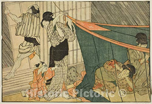 Historic Pictoric Print : Women Inside a Mosquito Net During a Thunderstorm, Picture Book: Flowers of The Four Seasons, Kitagawa Utamaro, c 1788, Vintage Wall Decor : 12in x 08in