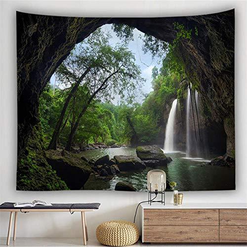 Tapiz de pared con diseño de mandala, bosque, paisaje bohemio, decoración de habitación psicodélico, hippie, cielo estrellado