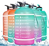 ZOMAKE Half Gallon Water Bottle(74OZ) with Time Marker & Straw, Motivational Water Jug BPA Free Leakproof Large Water Bottles for Fitness, Gym and Outdoor Sports