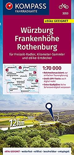 KOMPASS Fahrradkarte Würzburg, Frankenhöhe, Rothenburg 1:70.000, FK 3353: reiß- und wetterfest mit Extra Stadtplänen (KOMPASS-Fahrradkarten Deutschland, Band 3353)