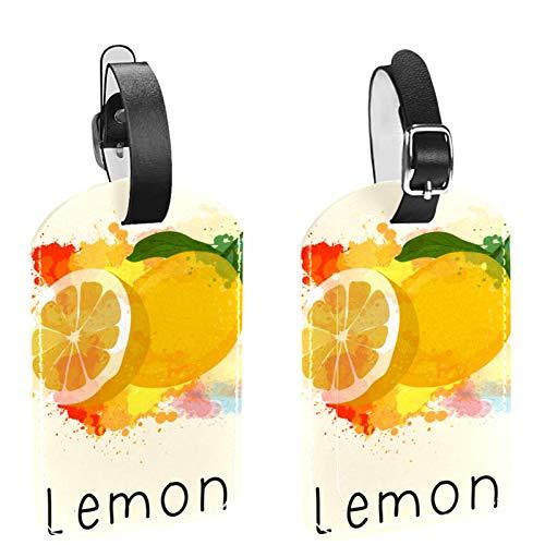 Juego de 2 etiquetas de equipaje para bolsas de equipaje, maleta, colegio, bolsas de golf, amarillo acuarela limón