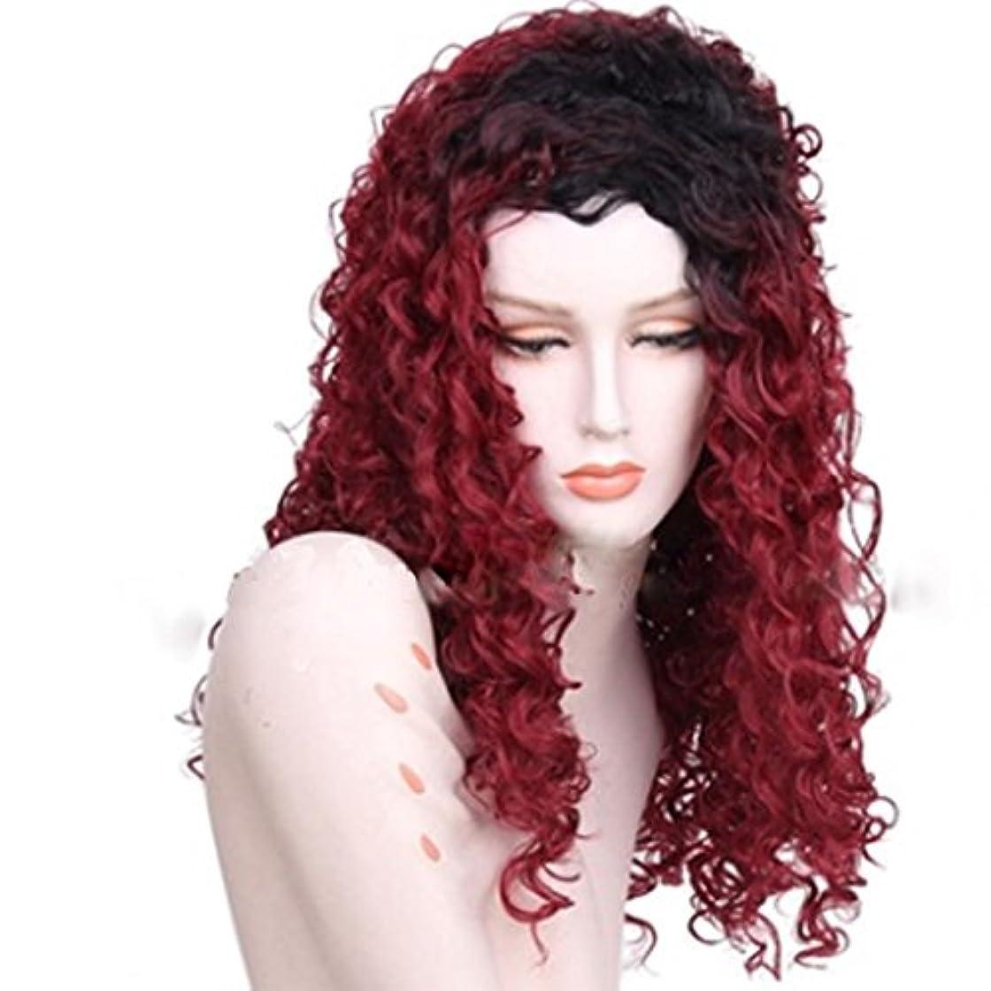 伝説を除く忠実なDoyvanntgo 60cm合成繊維かつら小カーリーフェイスタイプカーリーヘア260g (Color : Wine red)