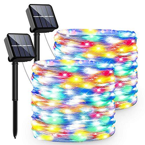 Luci Solari Esterno,13.5M 120 LED Catena Luminosa Solare 8 Modalità Luci Led Ip65 Impermeabile Lucine Led Decorative Per Giardino Cortile Matrimonio Festa Natale Halloween (colore)