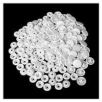 ボタン 45セット(180pcs)透明樹脂スナップボタンプラスチックプレスボタンファスナープレススタッドサイズT5キャップミシンアクセサリー (Color : White)