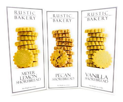 Rustic Bakery Cookies Bread Meyer Lemons Pecan Shortbread Cookies & Vanilla Low Sodium Thin Cookie Variety Bundle - 4oz- 3Pk