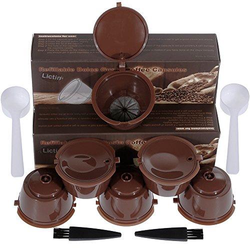 Lictin 6 Pack Cápsulas Filtros de Café Recargable Reutilizable para Cafetera Dolce Gusto Resistente Más de 150 Usos de Sustitucion con Equipo Incluye 2 Cuchara y 2 Cepillo i cafilas