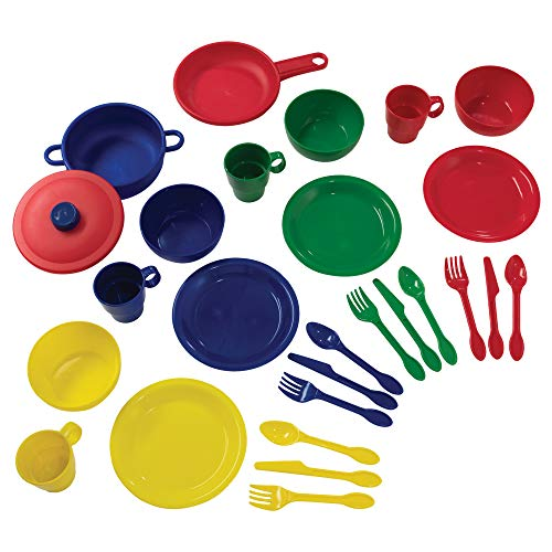KidKraft 27-Piece Primary Colored Cookware Set, Plastic Dishes and Utensils for Play Kitchens, Gift for Ages 18 mo+