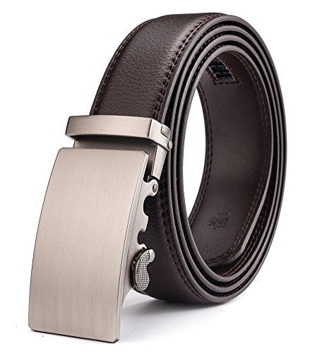 HWZone Cinturón Para Hombre de Cuero Piel con Hebilla Deslizante Automática