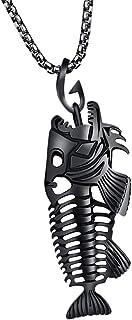 joyMerit Collier Cool pour Homme en Métal Poisson Os Squelette Creux Pendentif Boîte Collier