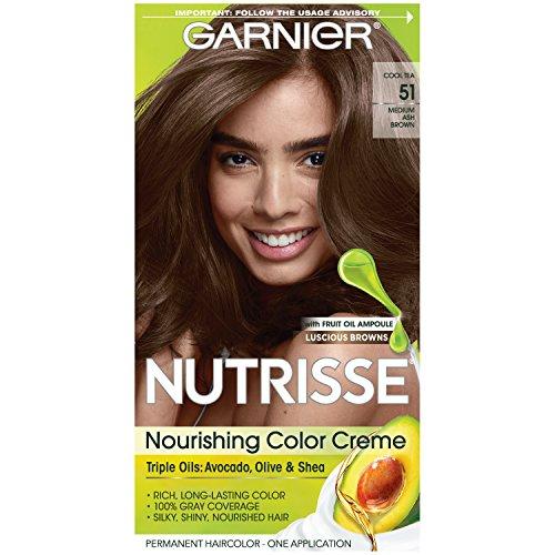Garnier Nutrisse Nourishing Hair Color Creme, 51 Medium Ash Brown (Cool Tea) (Packaging May Vary)