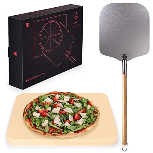 Blumtal - Pierre A Pizza - Pierre Refractaire Four - Kit à Pizza Complet - Pierre et Pelle à Pizza - Haute Qualité, Utilisations Diverses