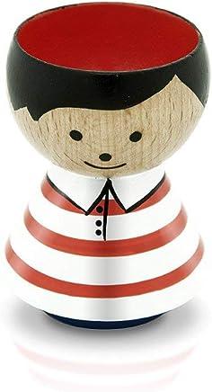 Preisvergleich für Lucie Kaas - Eierbecher - Bordfolk - Junge Streifen Rot - Buchenholz - Höhe 7 cm