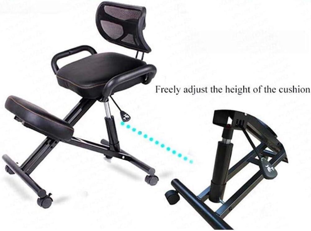 SMLZV Genoux Chaise réglable en hauteur ergonomique Genoux Fauteuil de massage bureau à domicile avec dossier professionnel Chaises orthopédique Posture (Color : Black) Black