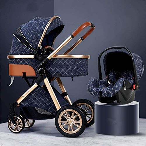 3 In 1 Stroller Carriage With Oversized Canopy/Easy One-Hand Fold,Foldable Baby Stroller Anti-Shock Springs High View Pram Baby Stroller With Baby Basket (Color : Gray),Colour:Khaki ( Color : Blue )