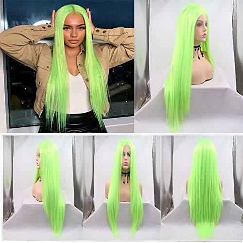 Perruque Femme Bresilienne, Oiseau Vert Fluorescent SynthéTique Avant Perruques Droite Jaune Clair Vert Perruques Femmes SpéCial Naturel, CôTé Bracelets Perruques SynthéTiques