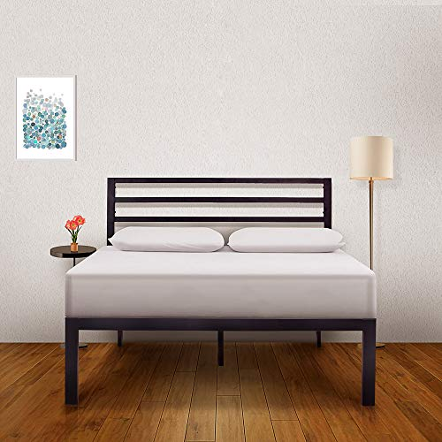 Ambee21 - Queen Platform Metal Bed Frame with Headboard: (14 inch) – Black Heavy Duty Iron Metal Bed Frame, Sturdy Mattress Support, Under Bed Storage, Steel Slat Support, No Box Spring Needed