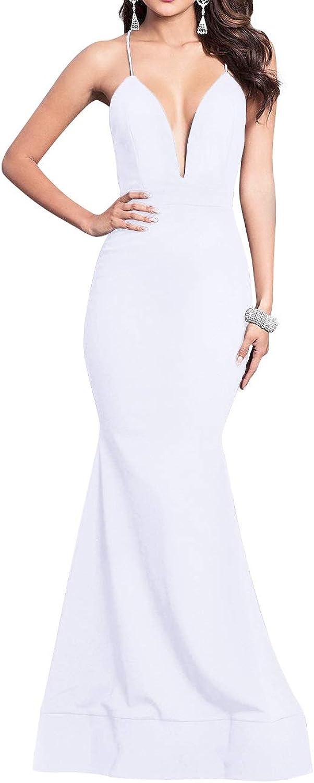 Bess Bridal Women's Deep V Neck Backless Long Formal Prom Evening Party Dress