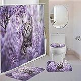 MQWEMJ Cortinas de Ducha, Gato Animal Flor Amarilla púrpura150×180 cm con alfombras Antideslizantes, Tapa de Inodoro y Alfombrilla de baño, Cortina de Ducha con 12 Ganchos, Tela Impermeable