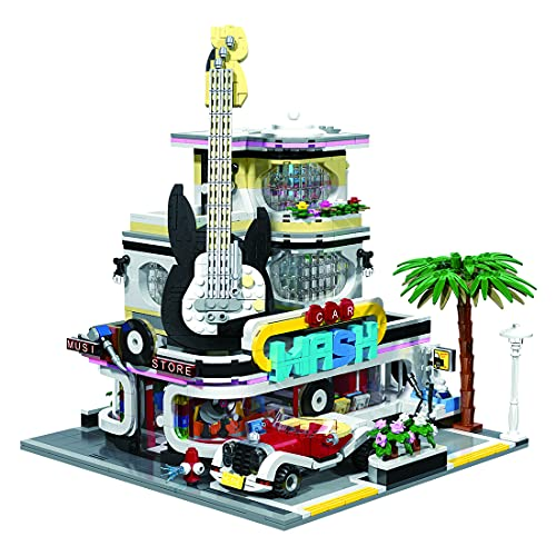 Flye Bausteine Architektur Modell, Europäische Street View Serie - Musik Shop Modular Architektur Modell mit 2250 Teile, Kompatibel mit Lego