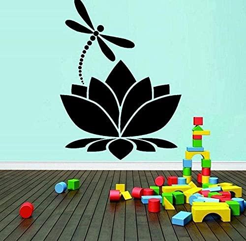 Lotus Dragonfly vinilo pared pegatina decoración del hogar meditación Yoga estudio habitación decoración pared calcomanía chica dormitorio Mural 42X57Cm
