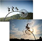 XSDF Feen und Löwenzahn tanzt zusammen – Dramatische Feenskulpturen, tanzt mit Löwenzahn, Fantasie, mythische Feengarten, magische Sammlerstück, Figur Feen, Pixies, Nymphen, Dekoration (2 Stück)