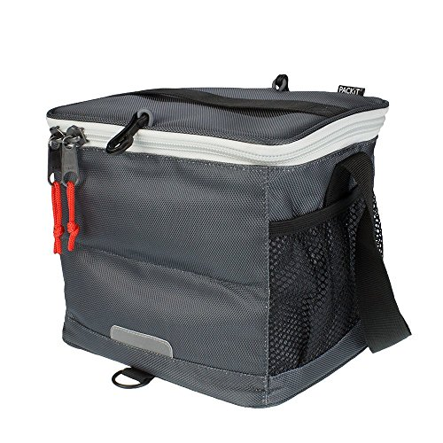 PACKIT Cooler Bag 9 can Lunch-kühltasche Einfrierbar, Poly Canvas, EVA-Kunststoff, Charcoal, 20.3 x 26.7 x 21 cm, 6 Liter