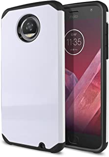 Fincibo (TM) Hybrid Dual Layer TPU Silicone Skin Hard Protector Cover Case for Motorola Moto Z2 Play 2nd Gen 2017, White/Black