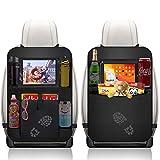 Auto Rückenlehnenschutz, Wasserdicht Auto Rücksitz Organizer für Kinder mit 2er Durchsichtigem iPad/Tablet-Tasch und 8 Aufbewahrungstaschen Rücksitzschoner Kick-Matten-Schutz für Autositz (2 Stück)