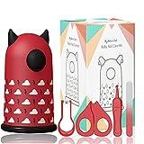 Pediküre Maniküre Nagelknipser Set, Nagelknipser Neugeborene set 4-teiliges, für Fingernägel und Fußnägel mit Baby Nagelknipser, Nagelschere, Nagelfeile und Pinzette Geschenk-Verpackung (Rot)