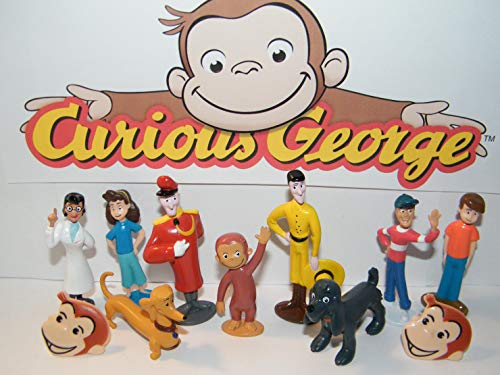 Curious George Deluxe Figure Set of 12 Toy Kit with 2 GeorgeRings and 10 Fun Figures Featuring George, The Man in The Yellow Hat, The Doorman and Many More!