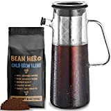 Cold Brew Coffee Maker 1L Glass Pitcher & 1LB Ground Beans for Coldbrew. Full System for Brewing Large Batch Ice Coffee or Concentrate with Pierced Stainless Steel Mesh Filter and 34 oz Glass Carafe