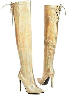 Laarzen Over De Knie, Lakleren Laserlaarzen Voor Dames, Puntige Stiletto Damesschoenen Met Hoge Hakken,Gold,47