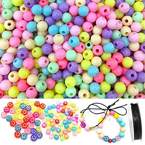 Colorato Perle 400pcs 10mm Perline Artigianali Perline di Plastica Perline Lettere Alfabeto,Sorridi Perline con filo per la Creazione di Gioielli, Braccialetto per Bambini, Collana, Ciondolo