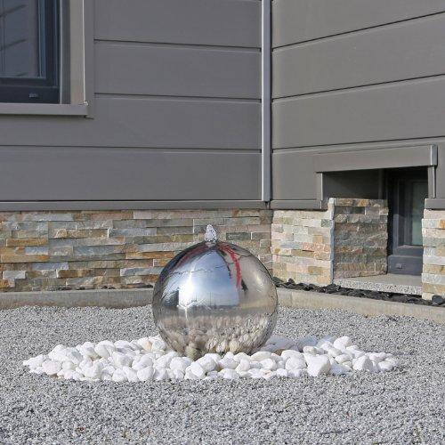 CLGarden Gartenbrunnen ESB3 aus Edelstahl mit 30cm Edelstahlkugel poliert inkl. LED Beleuchtung direkt am Wasseraustritt der Kugel Edelstahlbrunnen Kugelbrunnen