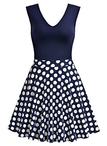 Miusol Damen Sommer Kleid V-Ausschnitt Ärmellos Blume Patterned Mini Casual Kleid Navy Blau-Polka Dots Gr.XXL - 6