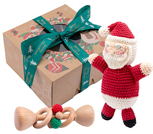 Promise Babe Natural Wooden Baby Toys Baby Christmas Toy Crochet Santa Claus Teether Organic Wood Rattle Montessori Inspired Unisex Set of 2