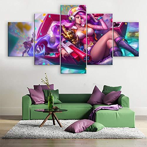 WARMBERL Peintures Sur Toile 5 pièces De Toile Peinture Oeuvre Décoration De La Maison Alliance Moderne Mur Art Toile Impression Jeu Affiche Cuadros Prints on Canvas Framed