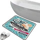 Alfombra de baño antideslizante de felpudo Set de los 50 Alfombrilla goma antideslizante Arte retro del estilo del cartel de la reparación de automóviles del servicio de lavado de autos en una impresi